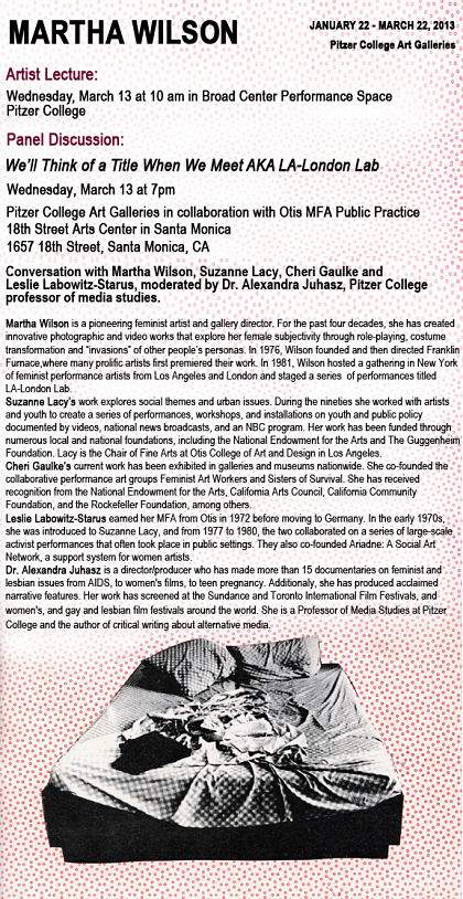 Panel Discussion on Feminist Performance Art in the 1980s